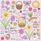 Happy Easter Notebook Doodles Vector Design Elements Set with Daffodils, Bunny, Eater Eggs, and Chic