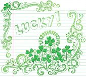 picture of st patty  - St Patricks Day Lucky Four Leaf Clover Shamrock Sketchy Doodle Back to School Style Notebook Doodles Vector Illustration on Lined Sketchbook Paper Background - JPG