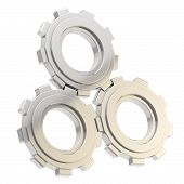 Set of three linked cogwheels isolated