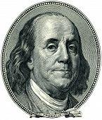 Recorte de retrato de Benjamin Franklin