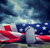 American Flag And Soldiers Badges.veterans Or Memorial Day Concept. poster