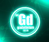 Gadolinium Chemical Element. Sign With Atomic Number And Atomic Weight. Chemical Element Of Periodic poster