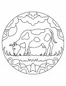 Cow Pattern. Illustration Of Cow. Mandala With An Farm Animal.  Cow In A Circular Frame. Coloring Pa poster