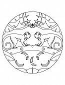 Monkeys Pattern. Illustration Of Monkey. Mandala With An Animal.  Monkey In A Circular Frame. Colori poster