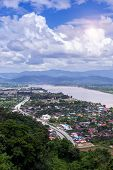 Mekong River At Chiang Saen District, Chiang Rai Province In Thailand, High Angle View Of Landscape  poster
