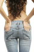 foto of bare butt  - Fit female butt in jeans - JPG