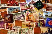 Vintage Soviet Stamp Background 1