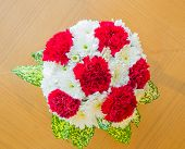 top view red Carnation bouquet using in wedding or any greeting ceremony