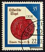 Postage stamp GDR 1988 Nauen Smith, Seal from 16th Century