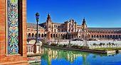 Famosa Plaza de España, Sevilla, Espanha
