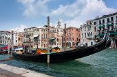 A Gondola Moored On The Grand Canal In Venice