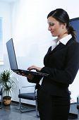 Businesswoman Uses Laptop
