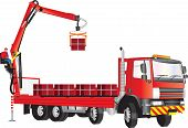 stock photo of boom-truck  - A Red Truck with operator on crane unloading bricks - JPG