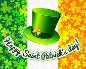 Saint Patrick's hat on Irish flag greeting card