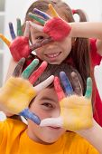 Children With Colored Hands
