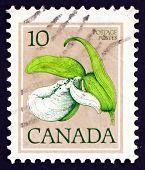 Estampilla Canadá 1977 Franklin zapatilla de Dama, orquídea,