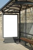 foto of bus-shelter  - This is for advertisers to place ad copy samples on a bus shelter - JPG