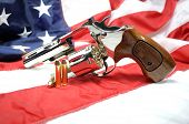Revolver on American Flag