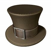 stock photo of mad hatter  - A brown material mad hatters hat with a brown leather belt and buckle on an isolated background - JPG