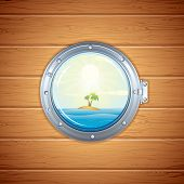 Ship Porthole. View on Tropical Island, Sea and Palm through a Shipboard Window.