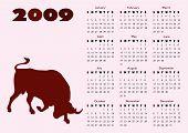 2009 Calendar With Ox