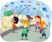 picture of stickman  - Stickman Illustration Featuring Excited Kids on a Trip to the Aquarium - JPG