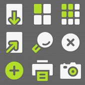 Image viewer web icons, white and green on grey