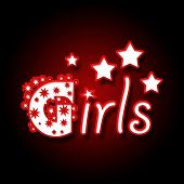 image of brothel  - Dark red background image with Girls text in neon style - JPG