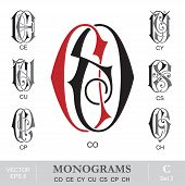picture of initials  - Vintage monogram set - JPG