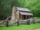 picture of split rail fence  - An old Appalachian cabin with a split rail fence - JPG