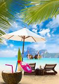 image of exotic_food  - Coconut on the beach in Phi Phi island Thailand - JPG