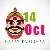 Indian festival Happy Dussehra background with illustration of Ravana face.
