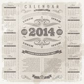 Vector lettering template design - Ornate vintage calendar of 2014 on a grunge background