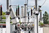 stock photo of substation  - High voltage electric power substation in summer day - JPG
