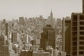 Sepia Toned View of New York City from Hotel Room located near Church Street