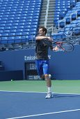 Two times Grand Slam champion Andy Murray practices for US Open 2013 at Louis Armstrong Stadium