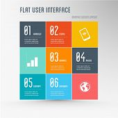flat user interface - graphic design elements, layout, colorful background
