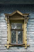 Old Wooden Window With Carved Platbands