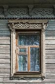Old Wooden Window With Carved Architraves