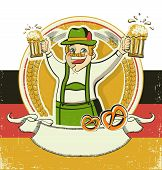 German Man And Beers.vintage Oktoberfest  Symbol On Old Paper Texture.