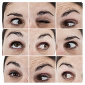 Collage of various pictures showing the eyes of a woman grimacing