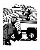 Farm Workers - Retro Clip Art Illustration