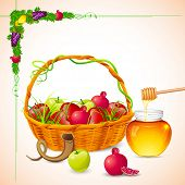 pic of sukkot  - illustration of Rosh Hashanah background with honey on apple - JPG