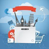 Shopping time. Seasonal euro discount tour illustration
