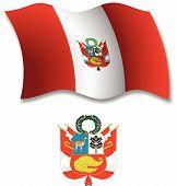 Peru Textured Wavy Flag Vector