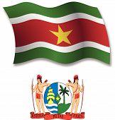 Suriname Textured Wavy Flag Vector
