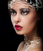Decoration. Portrait Of Gorgeous Woman With Pearls And Beads