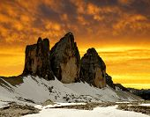 Tre cime di Lavaredo in the sunset , Dolomite Alps, Italy