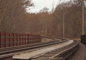 Empty Railroad Though Forest in Winter