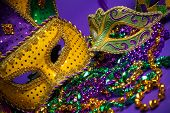 stock photo of jester  - Festive Grouping of mardi gras - JPG